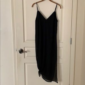 Black double v neck chiffon midi tank dress